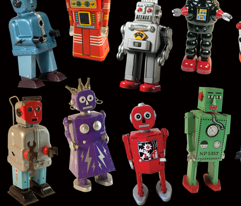 Vintage Toy Robots - large black fabric by rawbonestudio on Spoonflower - custom fabric