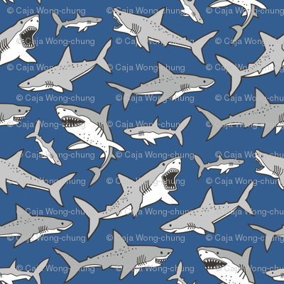 Sharks Shark Grey on Navy Blue