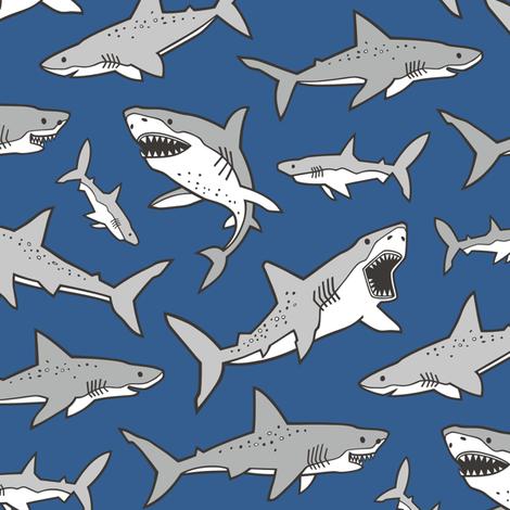 Sharks Shark Grey on Navy Blue fabric by caja_design on Spoonflower - custom fabric