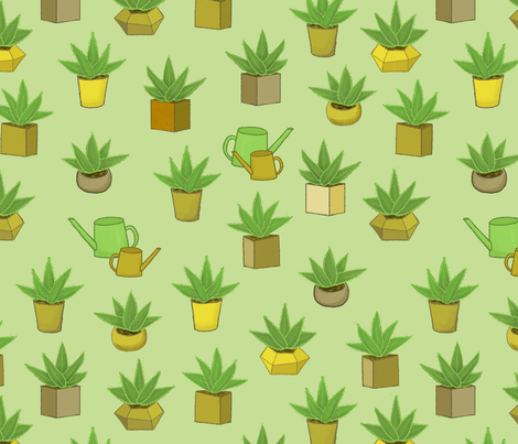 Aloe Vera plants in pots with watering cans fabric by pinmintprint on Spoonflower - custom fabric