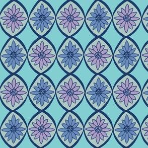 Retro  Daisies Blue