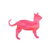 Pink Watercolor Cat