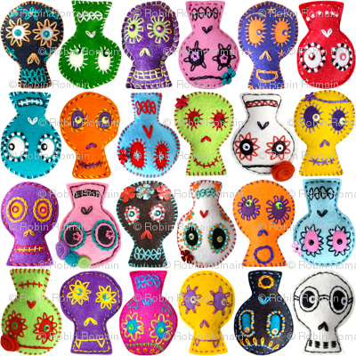 Folk Arty Sugar Skulls - white small
