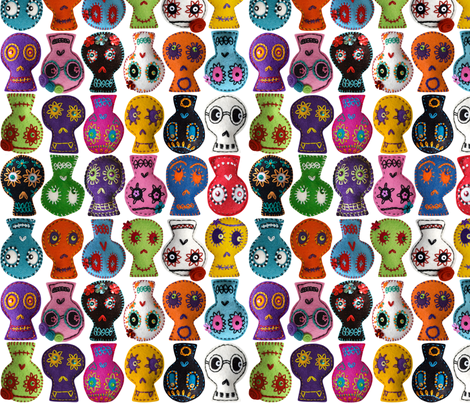 Folk Arty Sugar Skulls - white small fabric by rawbonestudio on Spoonflower - custom fabric