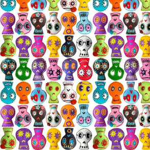 Folk Arty Sugar Skulls - on white - small