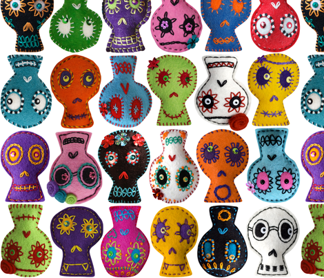 Folk Arty Sugar Skulls - white medium fabric by rawbonestudio on Spoonflower - custom fabric