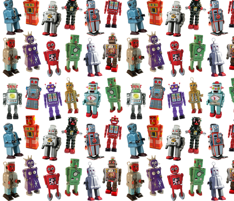 Vintage Toy Robots - small white fabric by rawbonestudio on Spoonflower - custom fabric