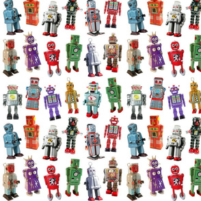 Vintage Toy Robots - small white