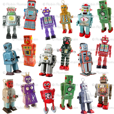 Vintage Toy Robots - medium white