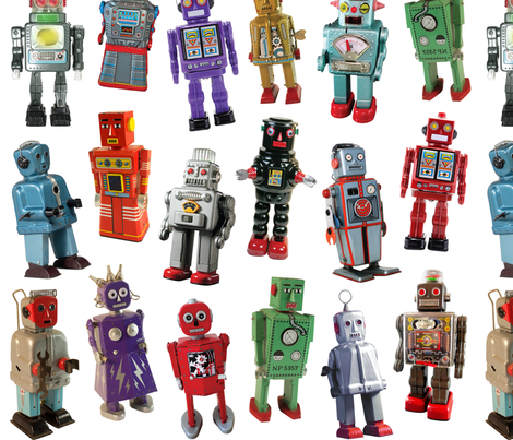 Vintage Toy Robots - medium white fabric by rawbonestudio on Spoonflower - custom fabric