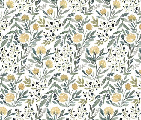 Yellow Floral fabric by bluebirdcoop on Spoonflower - custom fabric