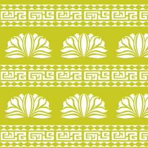 LOTUS STRIPE Chartreuse and White