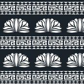 Chrysanthemum Stripe Black and White