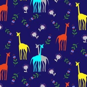 Cute giraffes and flowers