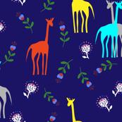 Cute giraffes and flowers