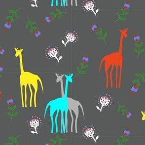 Floral giraffes on grey