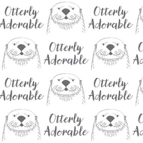 otterly-adorable in charcoal and white fabric by lilcubby on Spoonflower - custom fabric