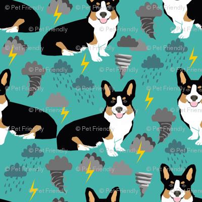 corgi storm fabric tornado weathers lightning dog fabric