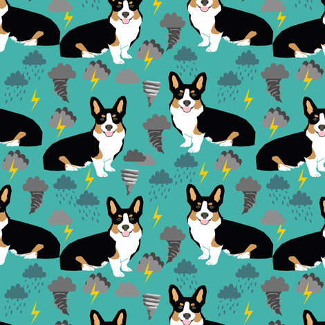 corgi storm fabric tornado weathers lightning dog fabric fabric by petfriendly on Spoonflower - custom fabric