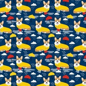 corgi rain day weather fabric umbrella corgis dog fabric