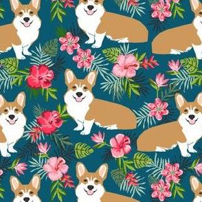 corgi hawaiian fabric tropical palms print fabric dogs fabric