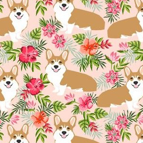 corgi hawaiian fabric tropical palms print fabric dogs fabric