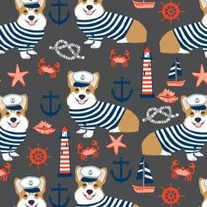 corgi nautical summer fabric sailor sailboat fabric corgis dog fabric