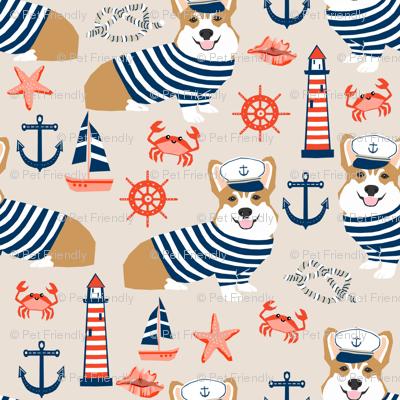 corgi nautical summer fabric sailor sailboat fabric corgis dog fabric