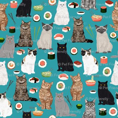 sushi cat fabric cute cats kitten design teal sushi kawaii fabric