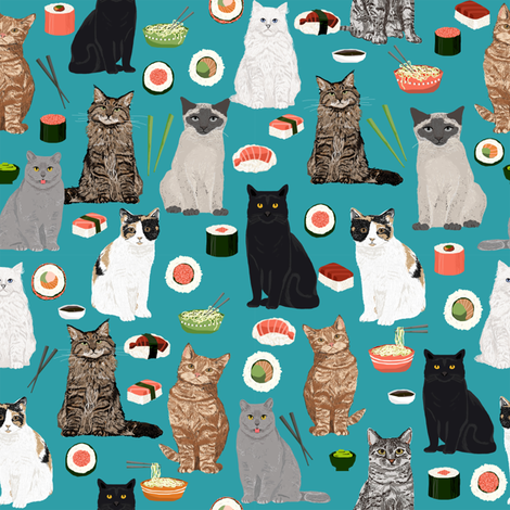 sushi cat fabric cute cats kitten design teal sushi kawaii fabric fabric by petfriendly on Spoonflower - custom fabric