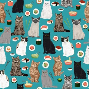 sushi cat fabric cute cats kitten design teal sushi kawaii fabric