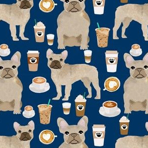 fawn frenchie fabric french bulldog coffees fabric