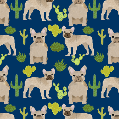 fawn frenchie fabric french bulldog cactus fabric fabric by petfriendly on Spoonflower - custom fabric