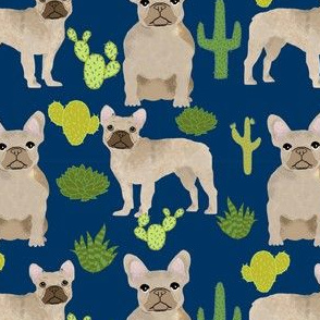 fawn frenchie fabric french bulldog cactus fabric