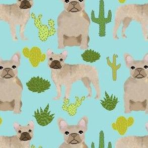 fawn frenchie fabric french bulldog cactus fabric