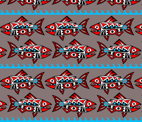 Large Chinook Salmon-Stone Grey fabric by rebecca_finds_designs on Spoonflower - custom fabric