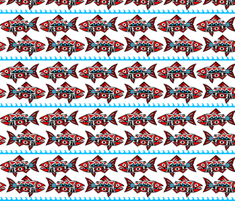 Medium Chinook Salmon - White Water fabric by rstroop on Spoonflower - custom fabric