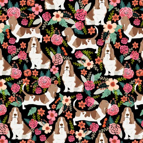 basset hound floral dog fabric basset hound fabrics fabric by petfriendly on Spoonflower - custom fabric