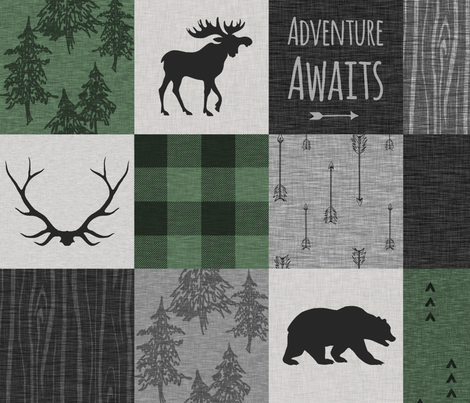 Adventure Awaits Quilt- Pine Green, Black, And Grey fabric by sugarpinedesign on Spoonflower - custom fabric