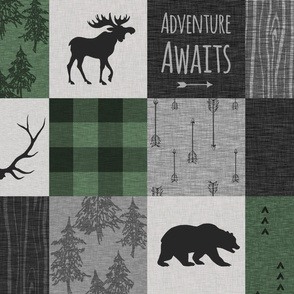 Adventure Awaits Quilt- Pine Green, Black, And Grey