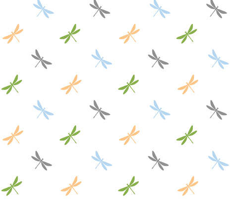 Dragonflies- Greenery, Prach, Blue, Gray fabric by sugarpinedesign on Spoonflower - custom fabric