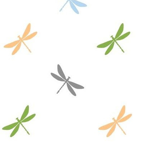 Dragonflies- Greenery, Prach, Blue, Gray