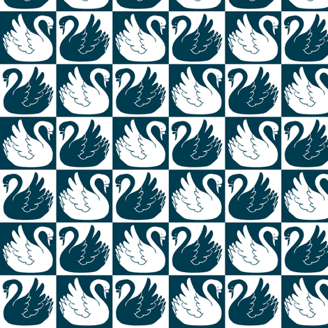 Swan Checkerboard - Sailing Palette H fabric by siya on Spoonflower - custom fabric