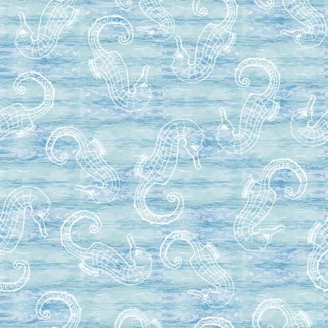 Seahorses on a Shibori Sea fabric by ncxadair on Spoonflower - custom fabric