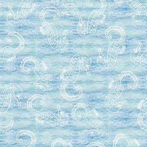 Seahorses on a Shibori Sea