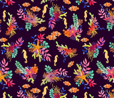 Ocean Spirit Deep Purple fabric by katebillingsley on Spoonflower - custom fabric
