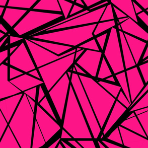 Geometric , Magenta with black pattern .