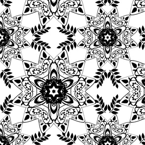 Black and white round ornament . 2