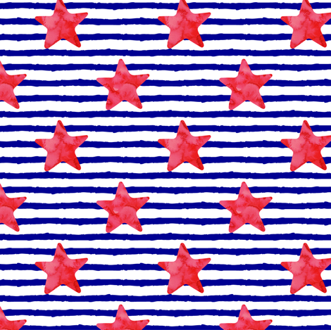 red watercolor star on stripes fabric by littlearrowdesign on Spoonflower - custom fabric