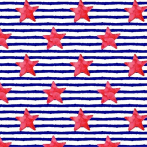 red watercolor star on stripes